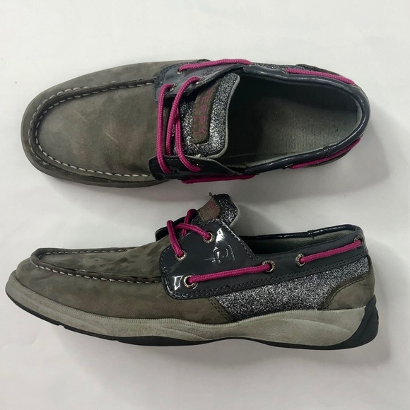 Sperry Other - Sperry Girls Intrepid Boat Shoes Gray Glitter 4
